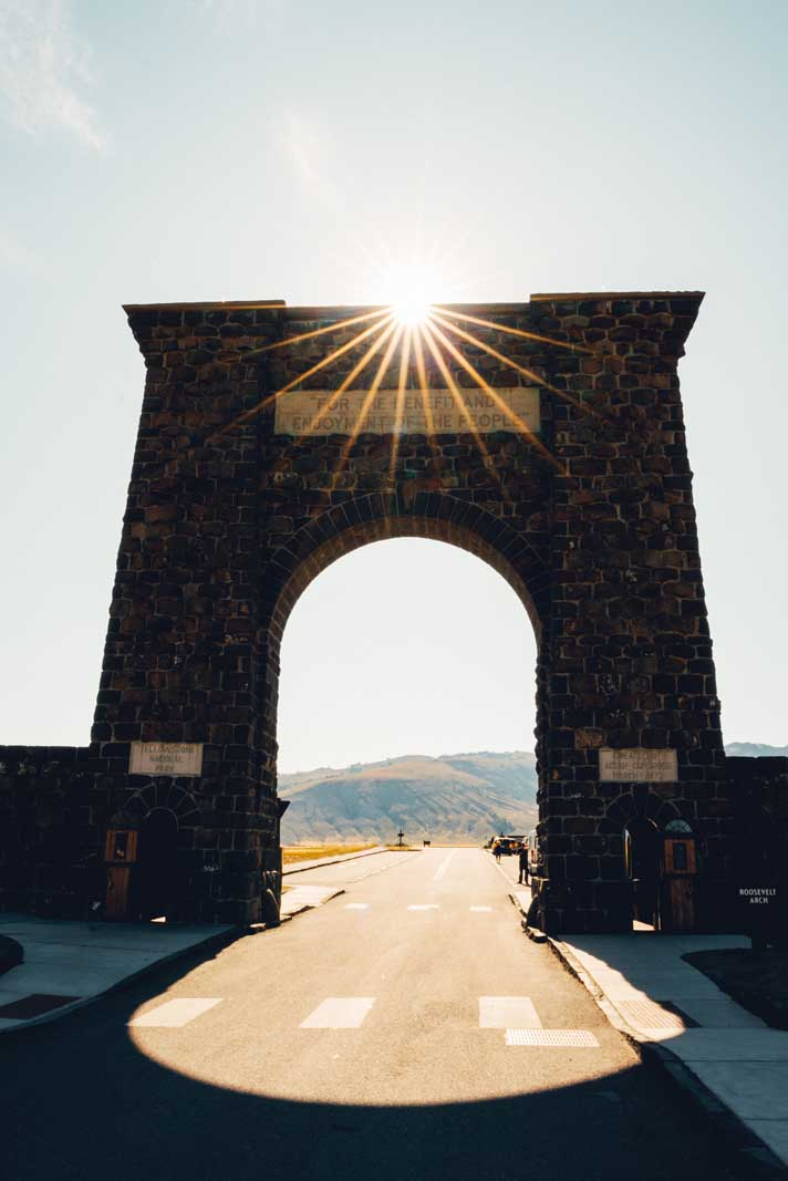 Roosevelt Arch in Gardiner near Yellowstone National Park entrance in Montana