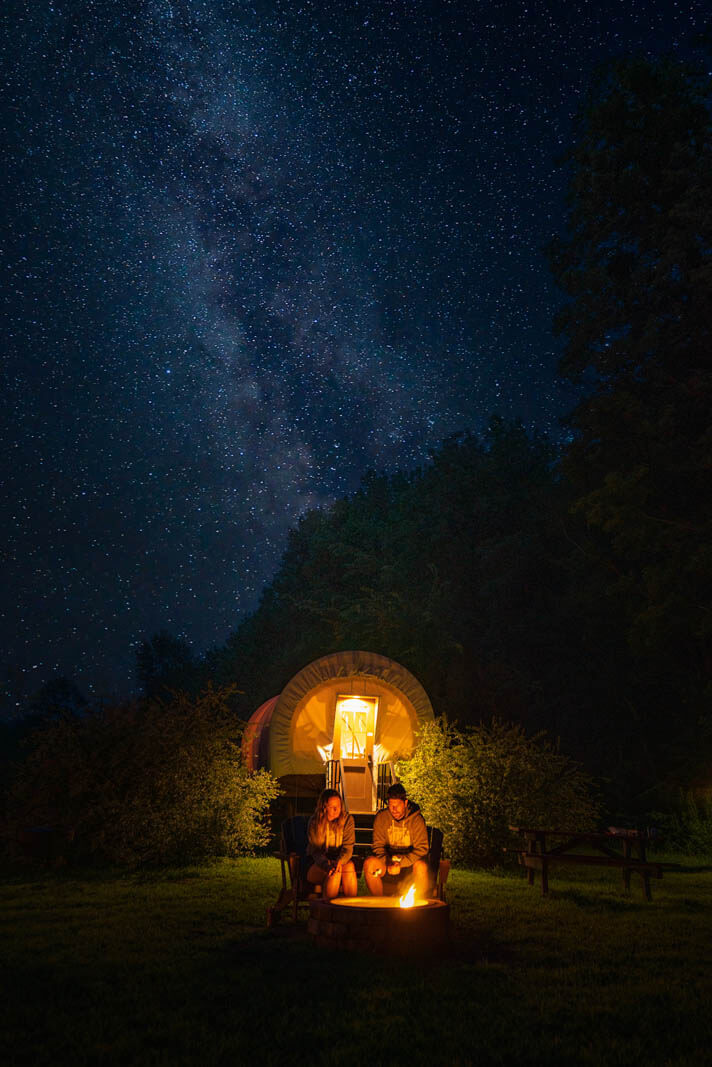 Roscoe Campsite Park conestoga covered wagons glamping experience in the Catskills new york