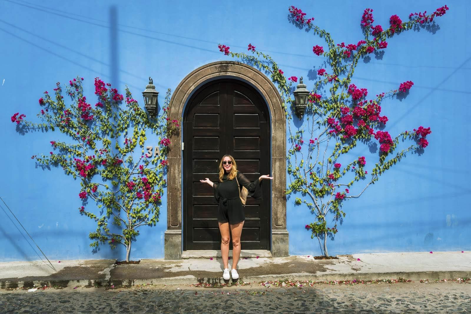 Beautiful blue door to a home in San Miguel de Allende