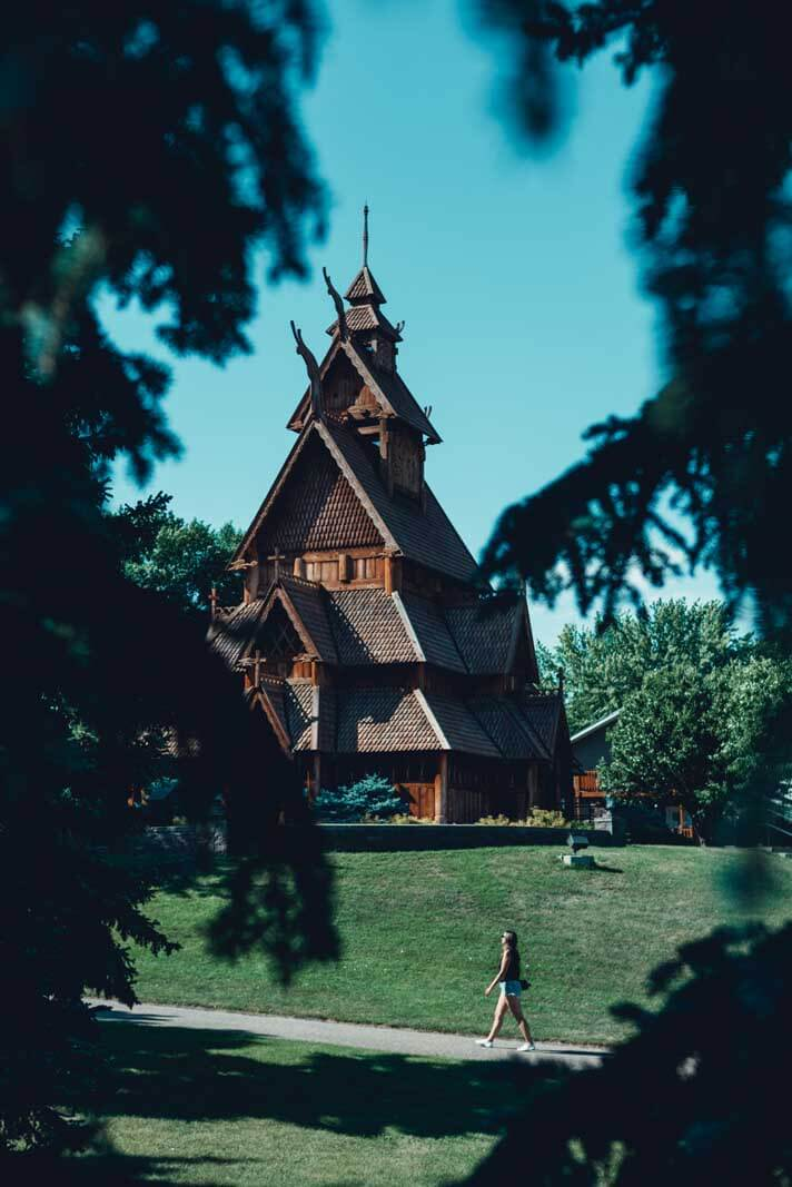 Replica of the Gol Stave Church at the Scandinavian Heritage Park in Minot North Dakota