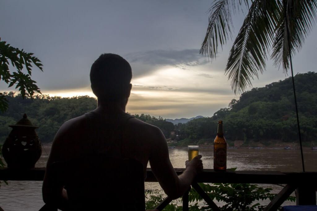 Drinks along Nam Khan River in Luang Prabang