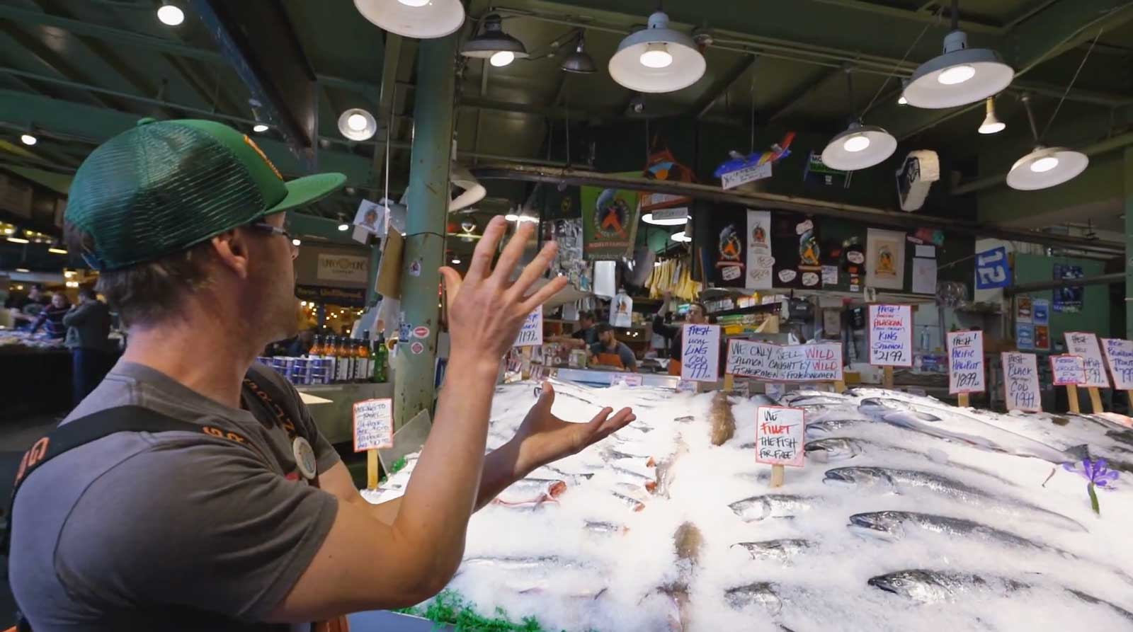 Pike Place Fishmonger Throwing and catching a fish