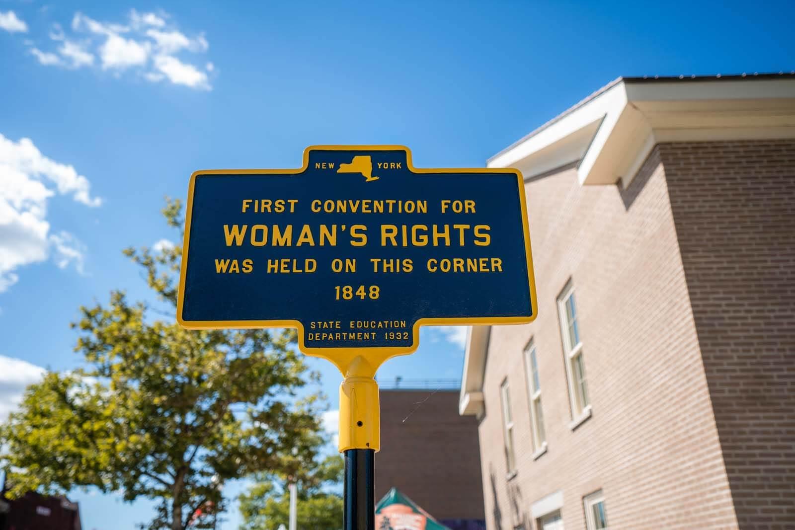 Seneca Falls NY sign home of the womens rights movement