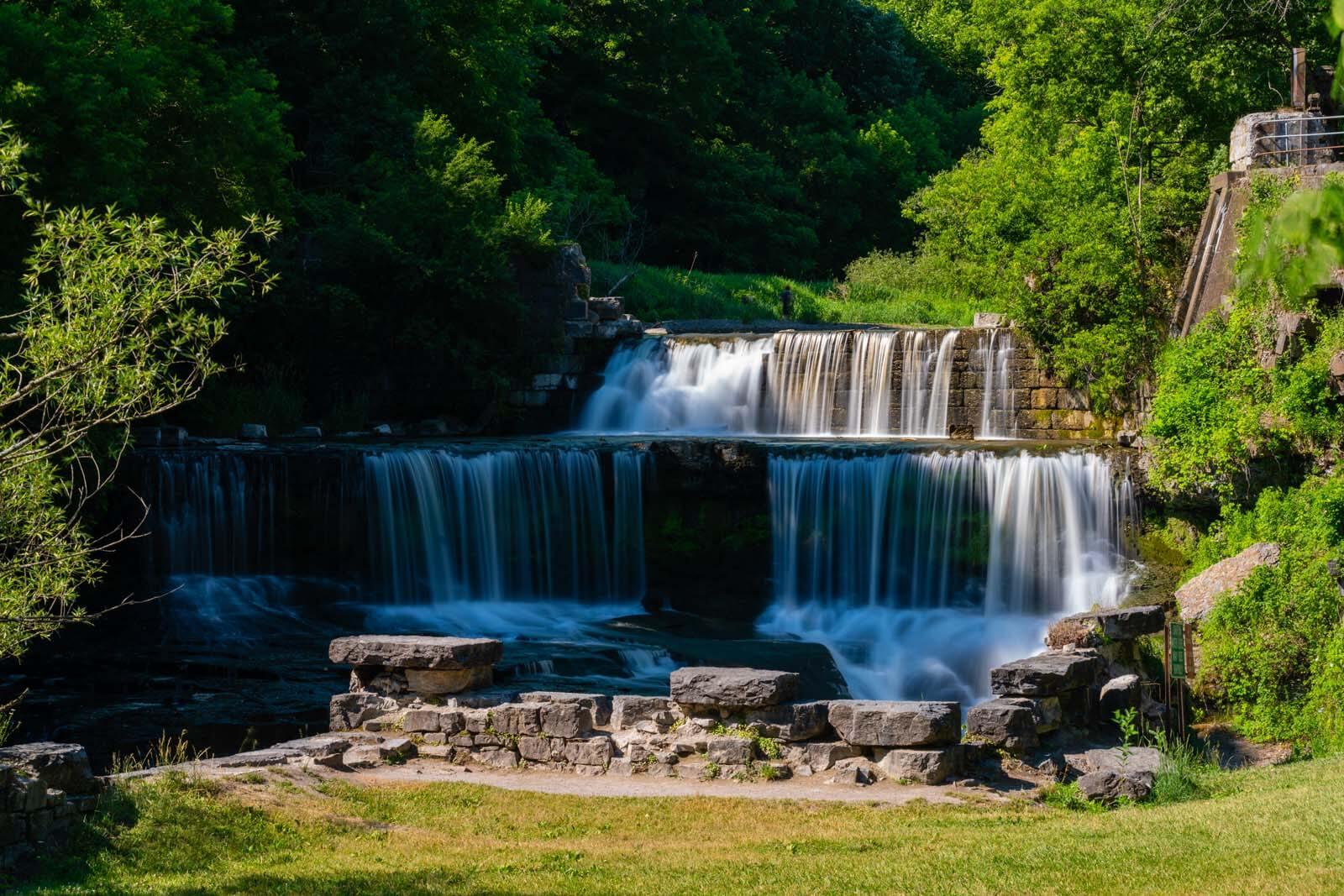 Seneca Mills Falls waterfalls in the Finger Lakes on the Keuka Outlet Trail near Penn Yan New York