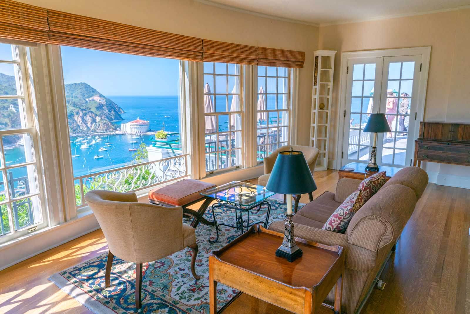 the epic living room view from the Inn at Mt Ada in Catalina