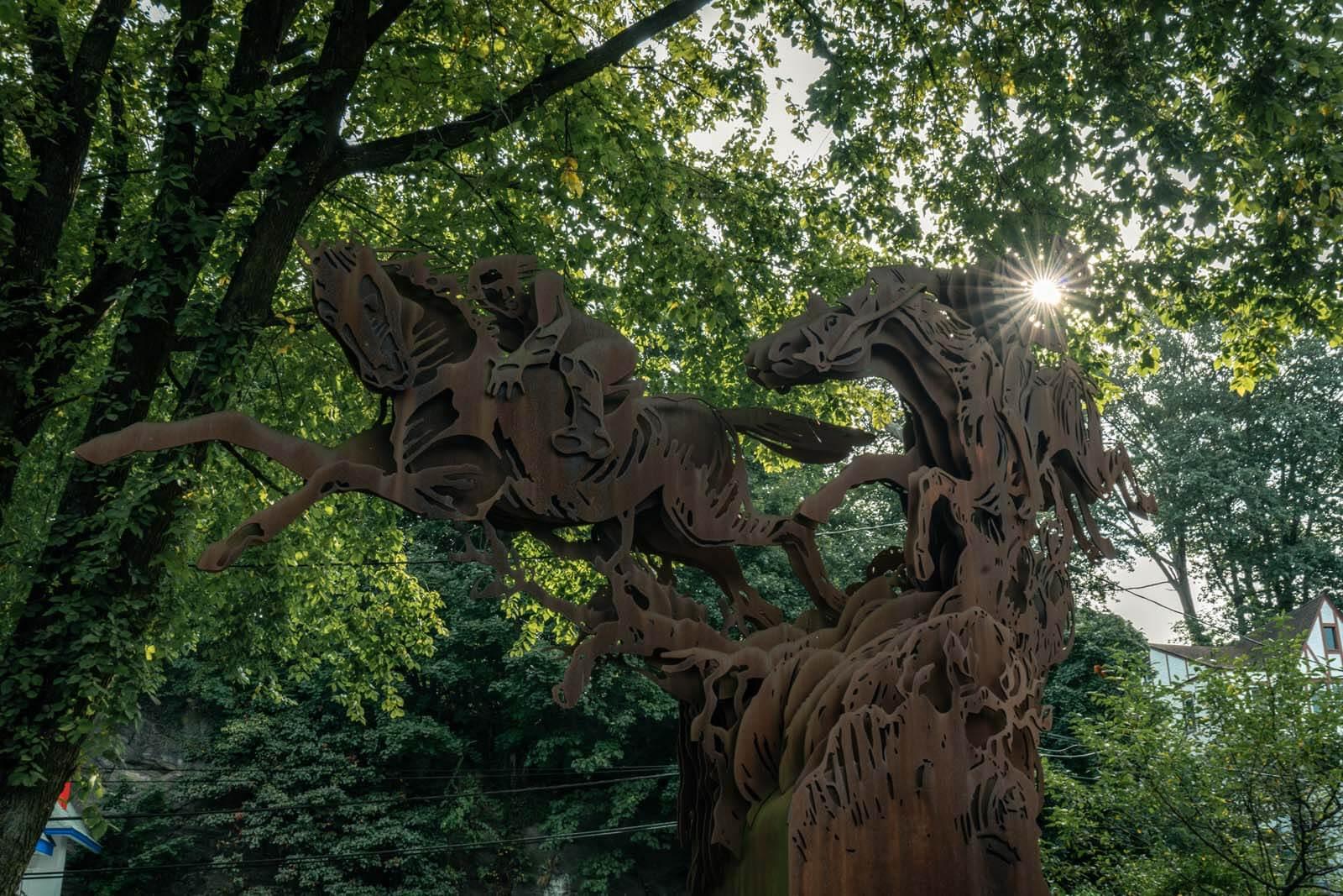 Sleepy Hollow Headless Horseman Sculpture in NY