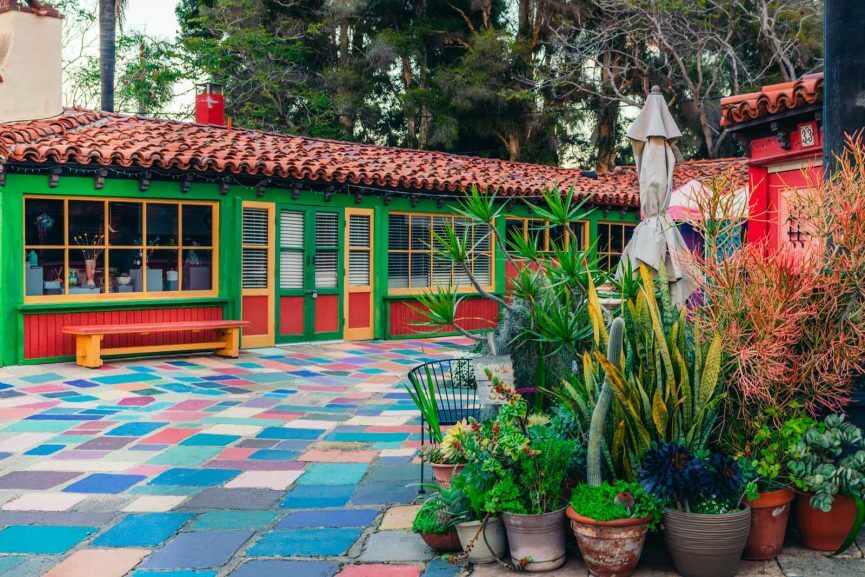 the colors of the Spanish Village Art Center in Balboa Park San Diego