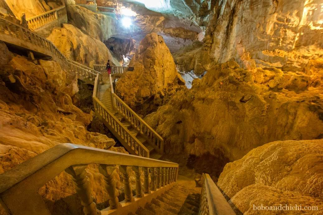 Stairs in Tham Nang Aen Cave in Laos