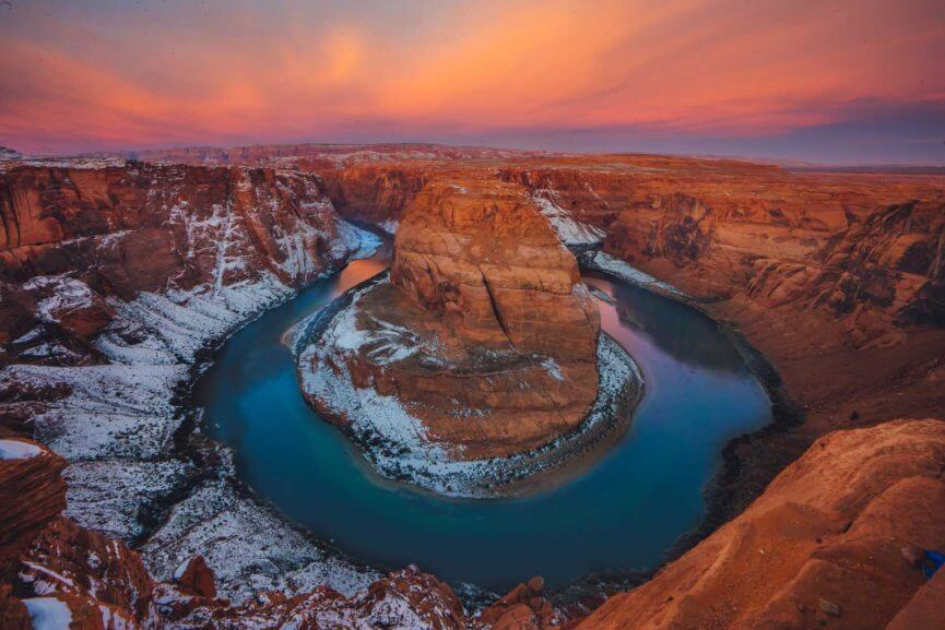 colorful sunrise at Horseshoe Bend in Page Arizona