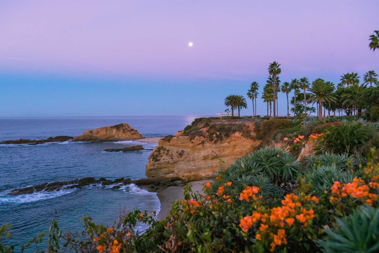 Tropical sunrise at Laguna Beach California
