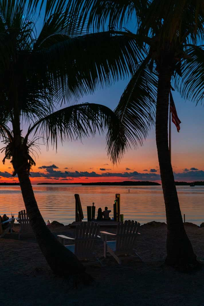 Sunset at Moorings Village in Islamorada a great place to stay in the florida keys