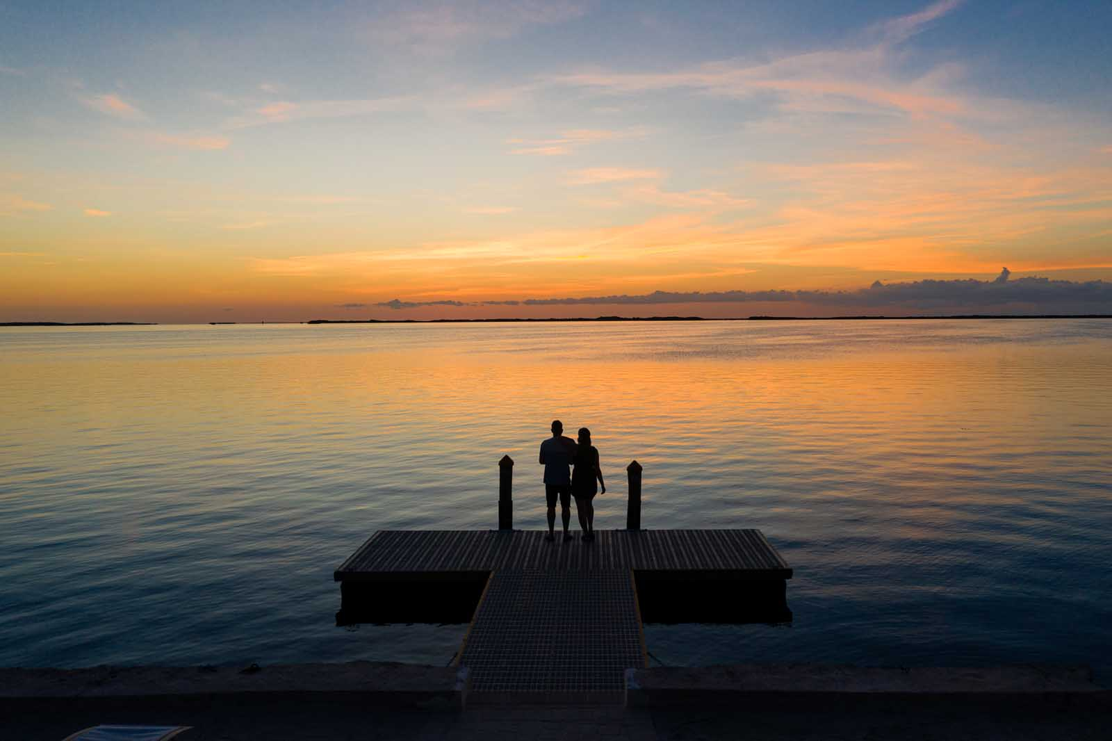 megan and scott stealing a sunset in the florida keys