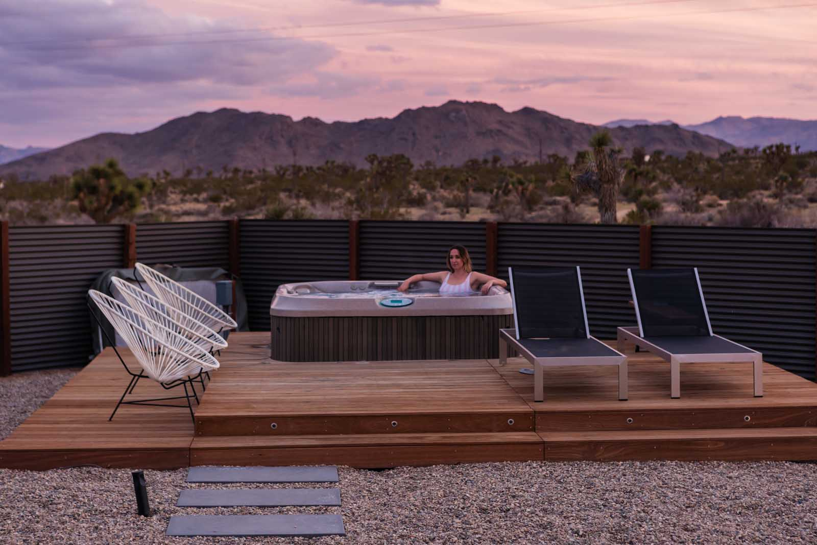 Jacuzzi at sunset in Joshua Tree Airbnb