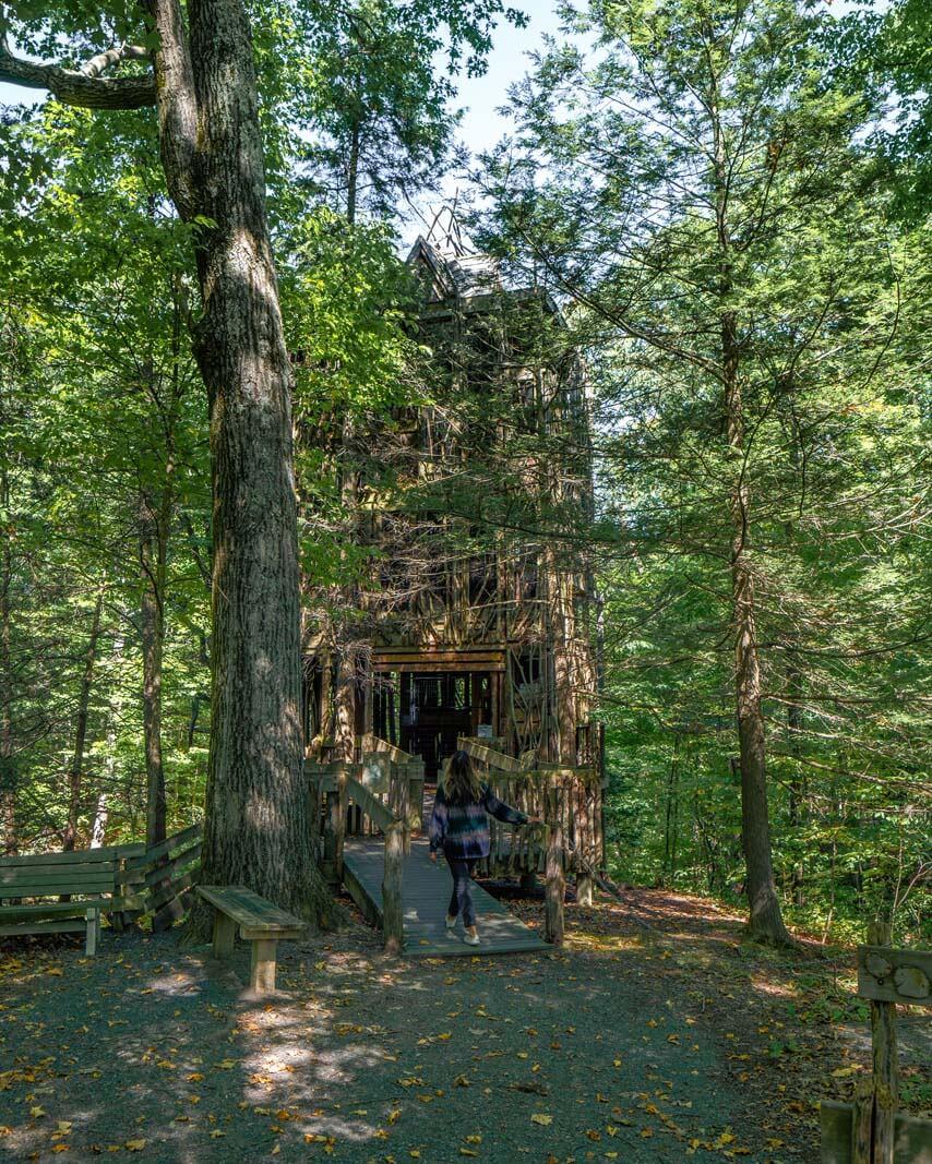 The 6 story treehouse at Cayuga Nature Center near Ithaca NY