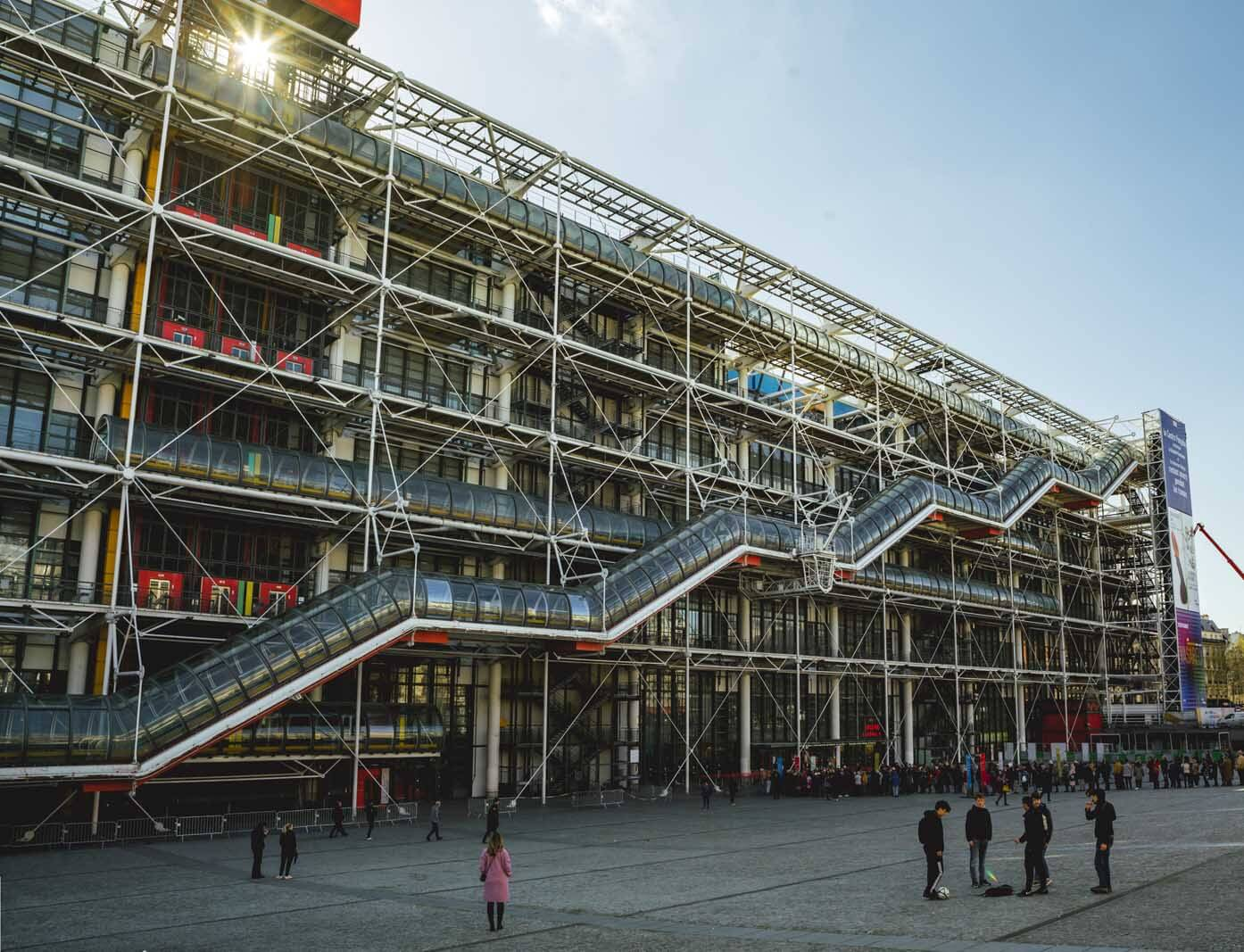 The outside of the Pompidou Center in Paris