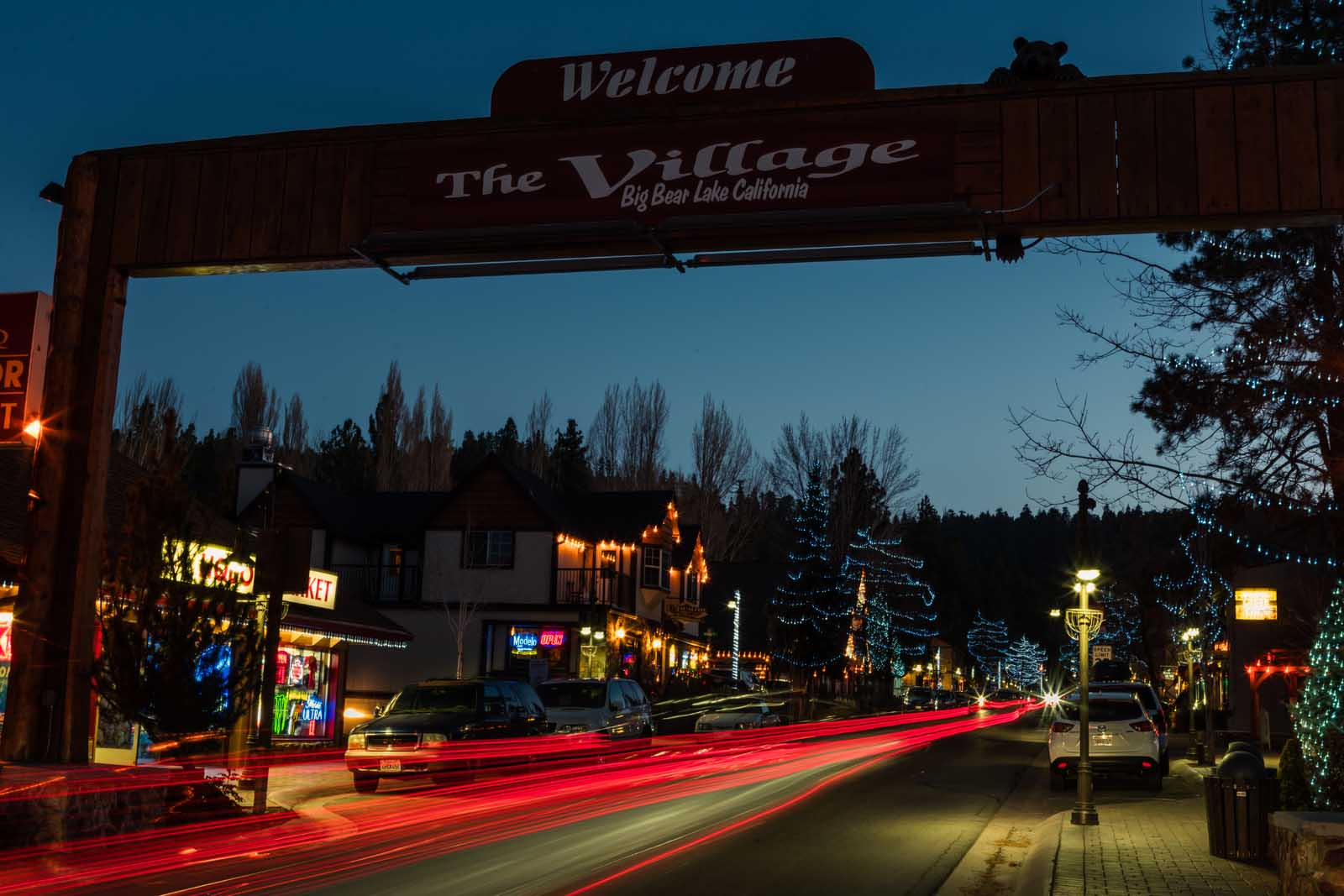 The Village in Big Bear at night
