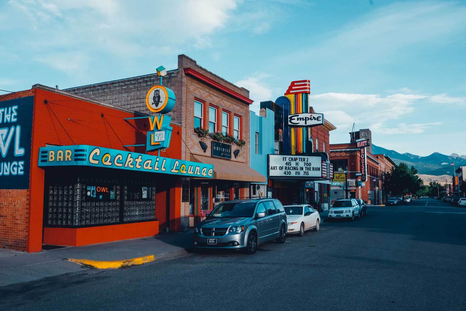 the most colorful street in downtown Livingston in Montana