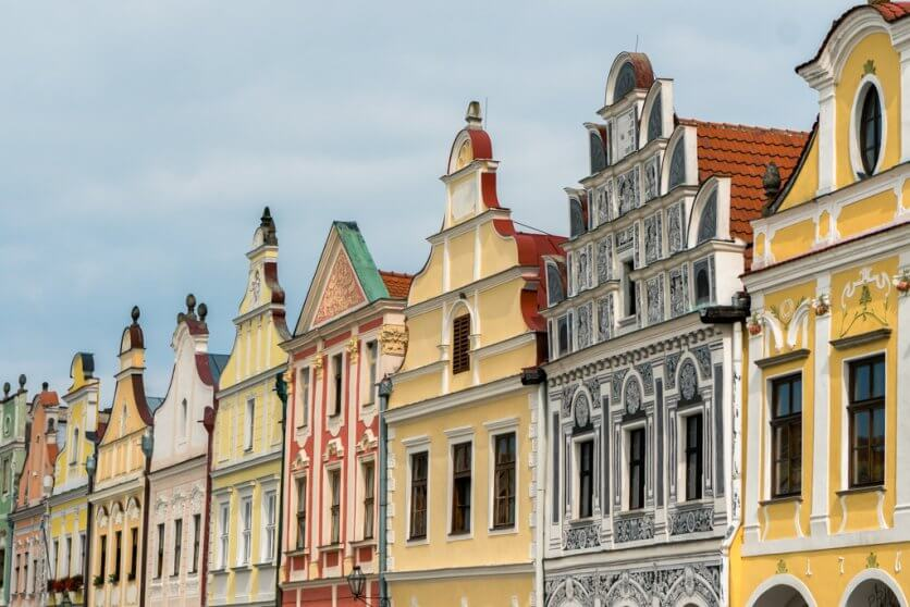 The colorful buildings of Telc in Vysocina Czech Republic UNESCO site