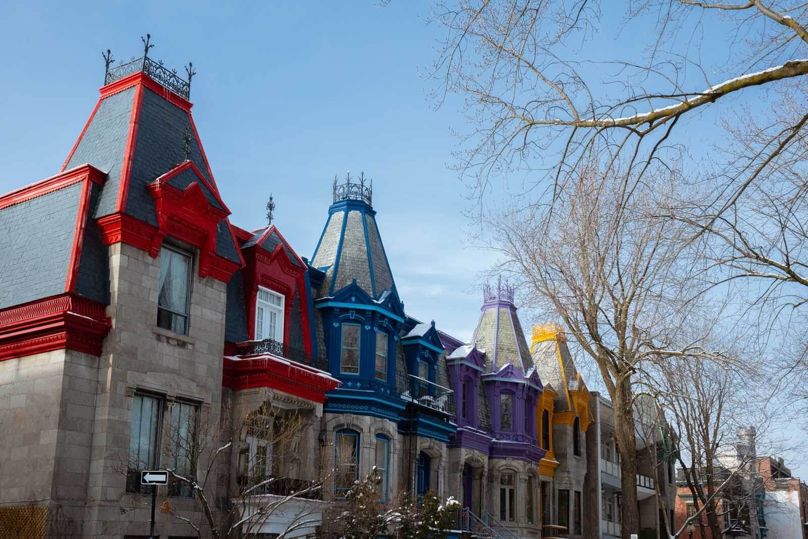 The colorful homes of Saint Louis Square in Montreal