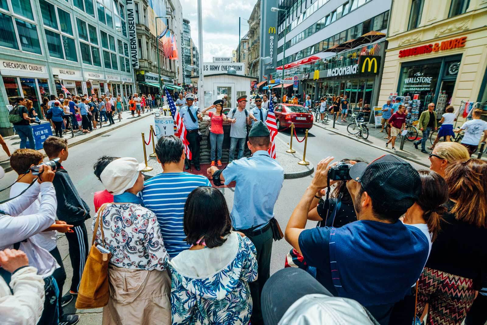 Mass Crowds gather at Checkpoint Charlie in Berlin