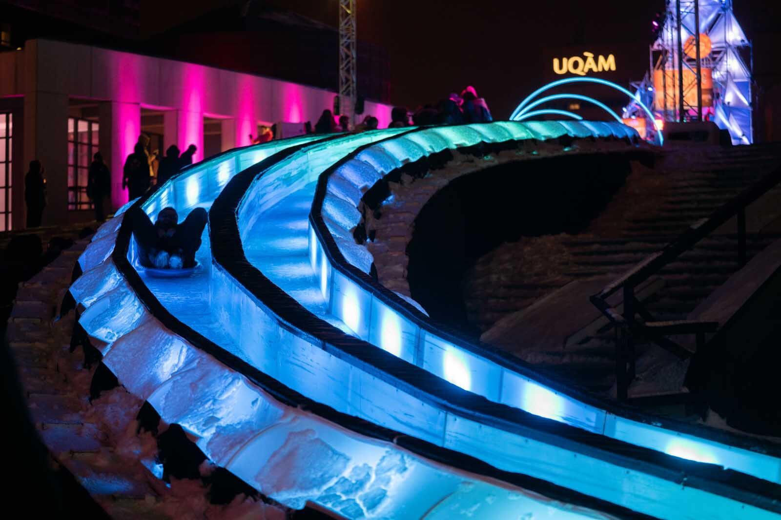 The electric ice slide at the Montreal in winter Lumiere festival