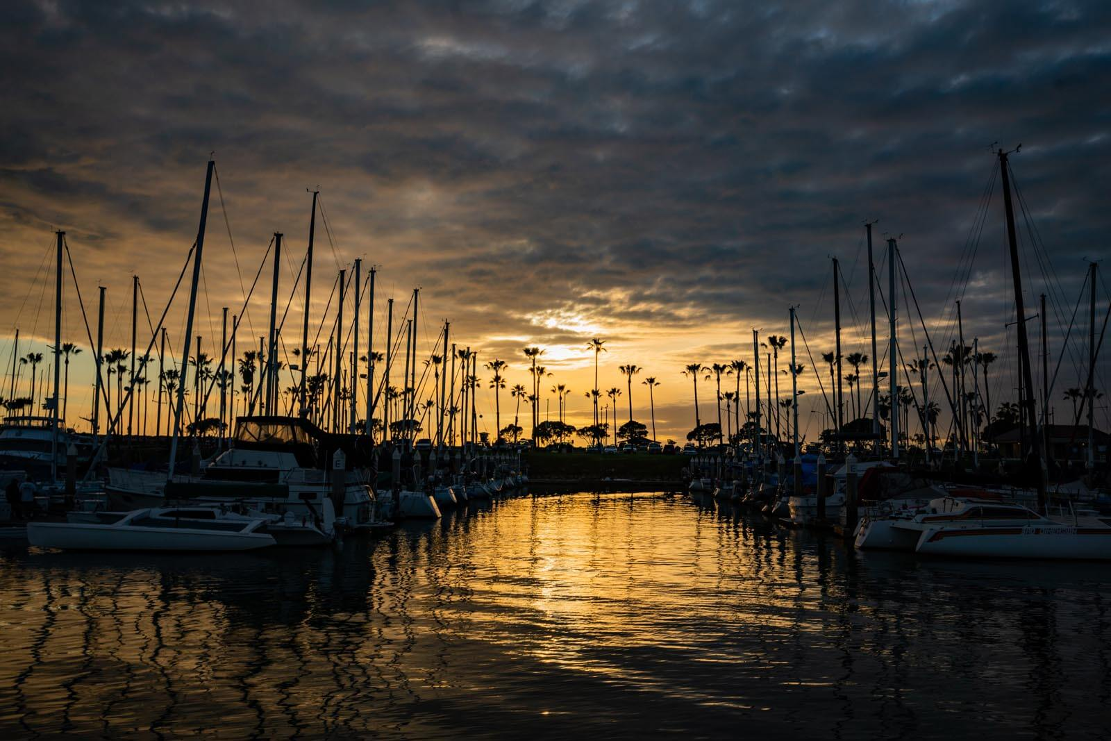 Ventura harbor in California at sunset
