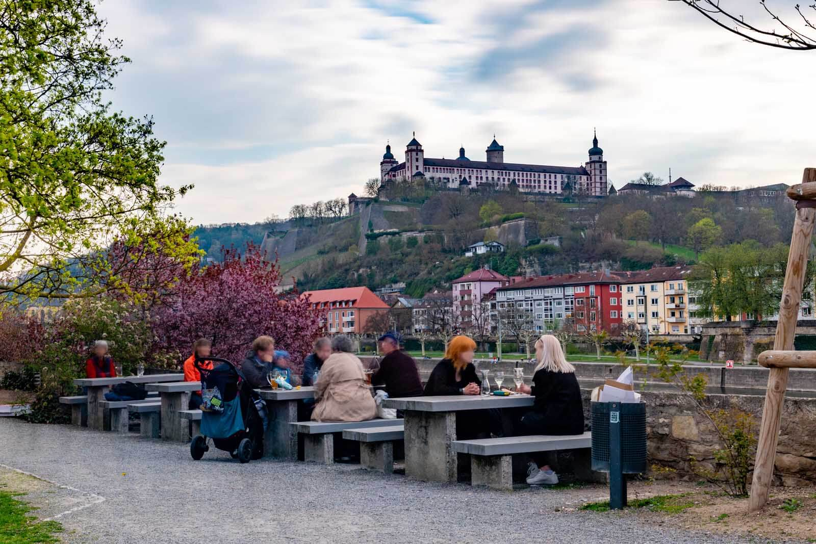 Alter Kranen beer garden along the river in Würzburg Germany