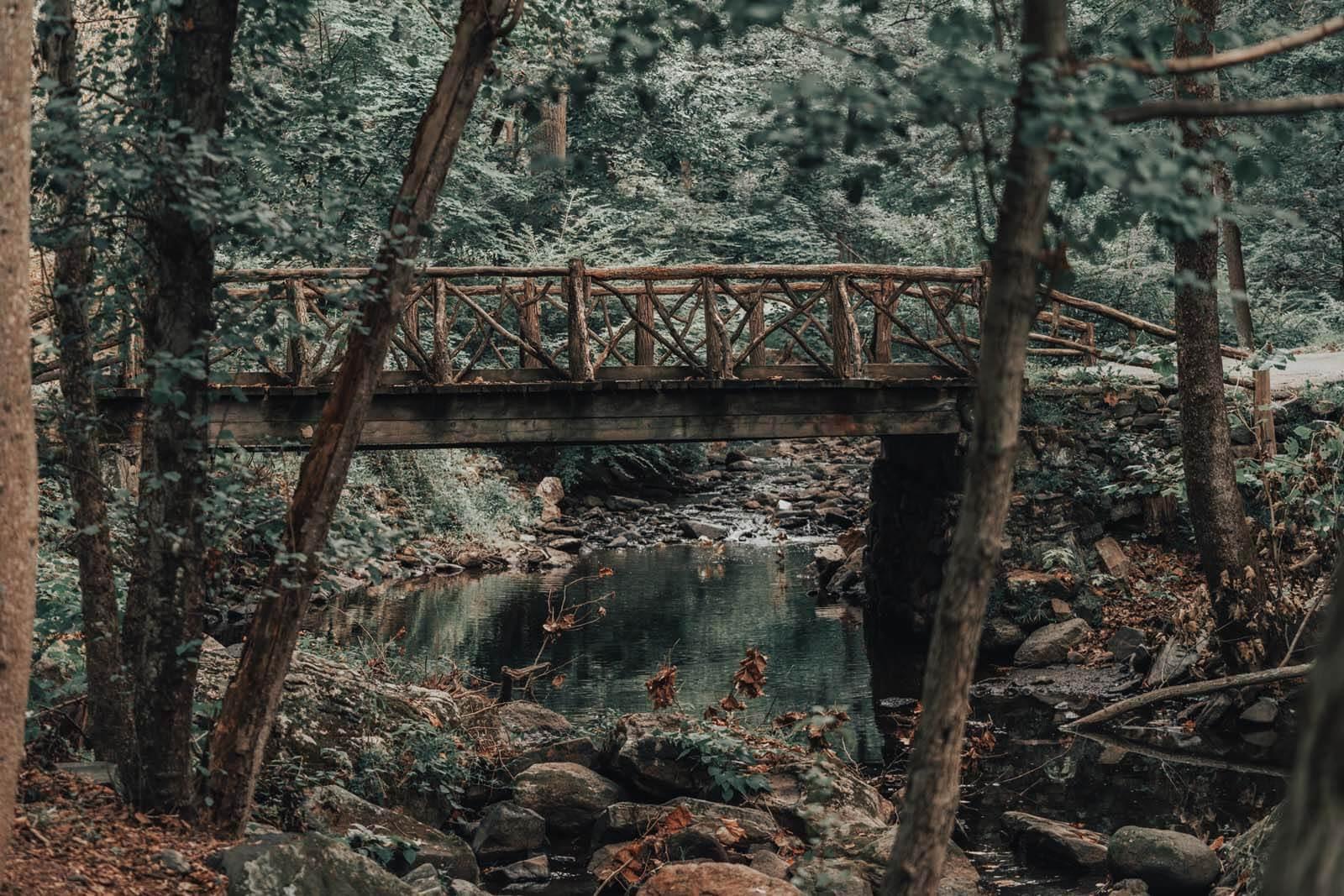 The wooden headless horseman bridge in the Sleepy Hollow cemetery in NY
