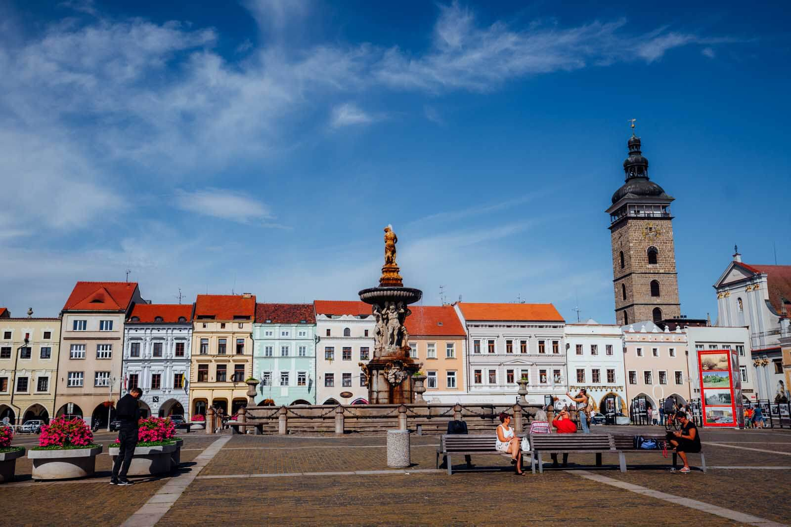 Town center in Ceske Budejovice in the Czech Republic