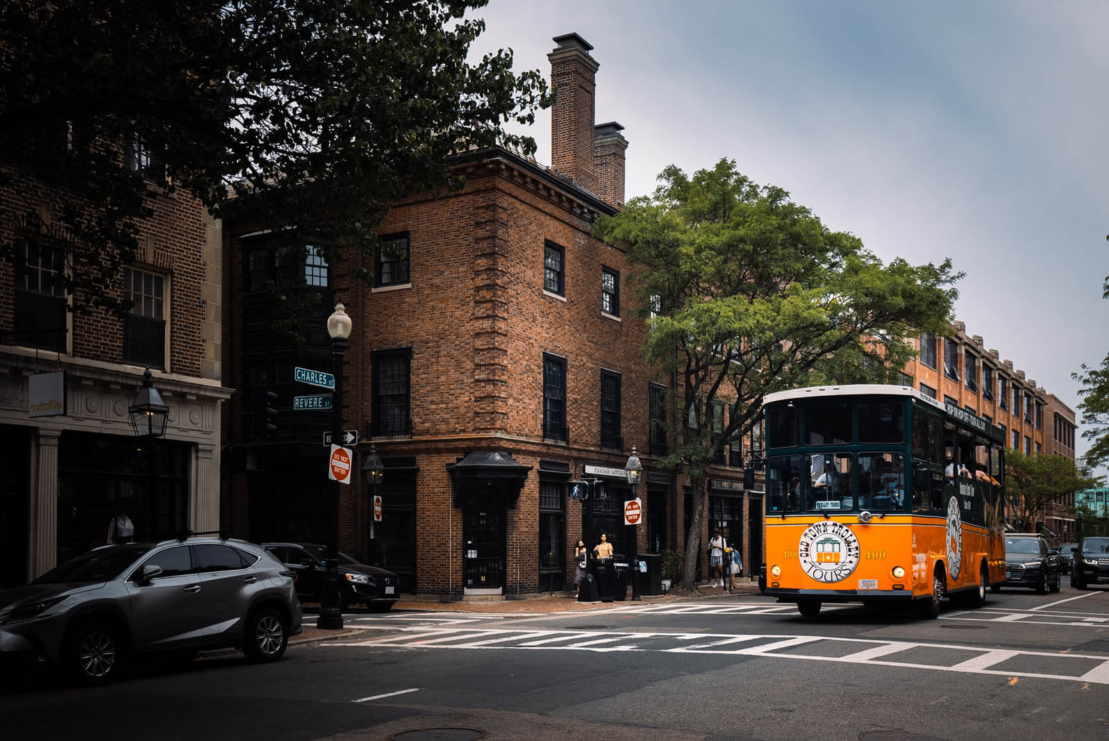 Trolley going down Charles Street in Beacon Hill Boston