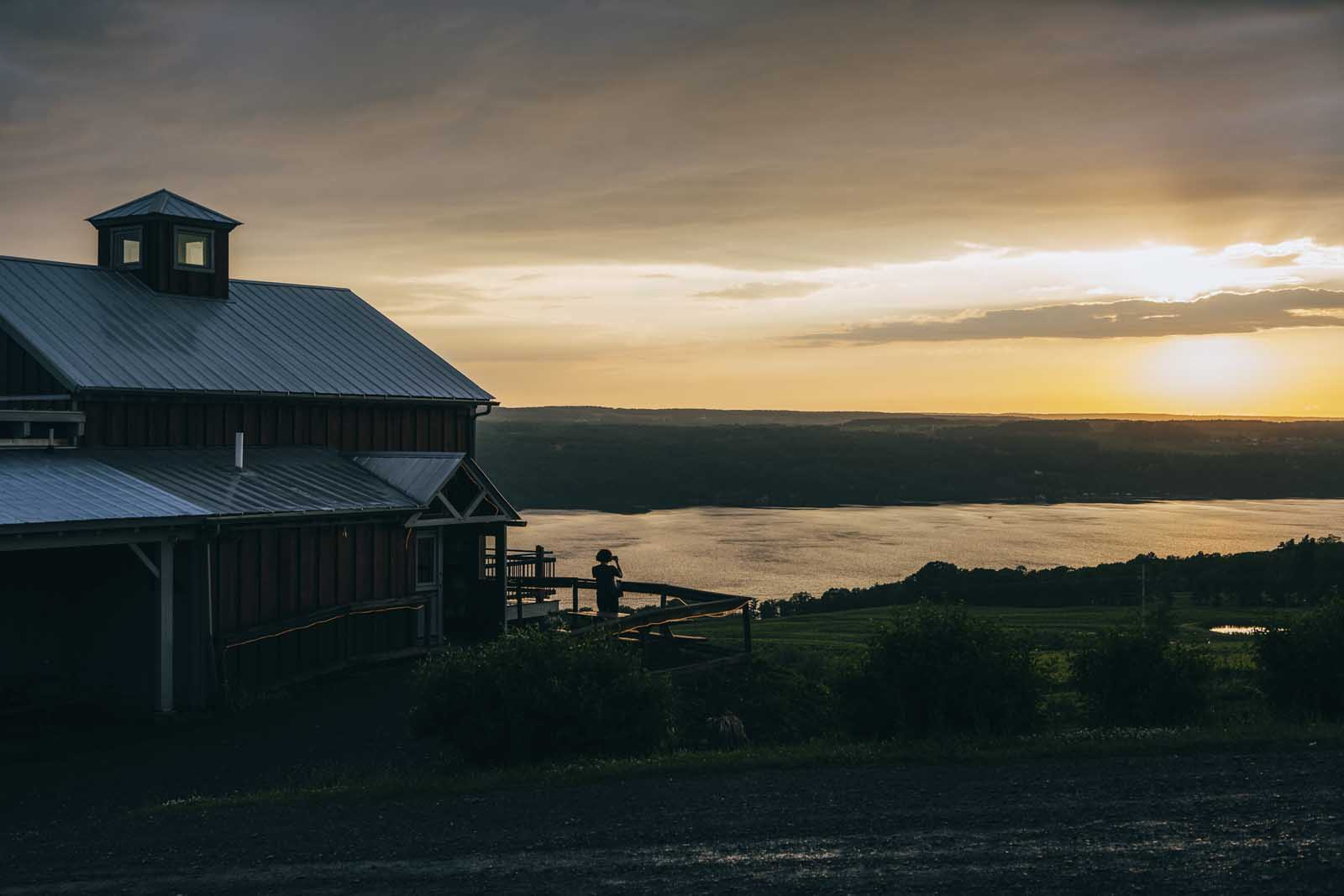 Sunset at Two goats brewery Seneca Lake