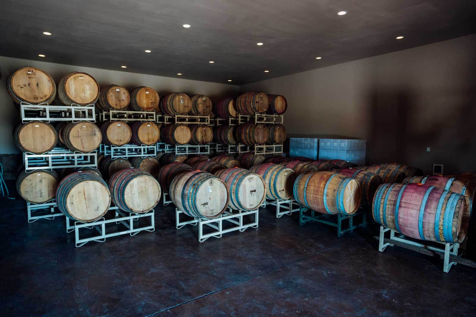 Storage barrels at VanArnam Vineyards