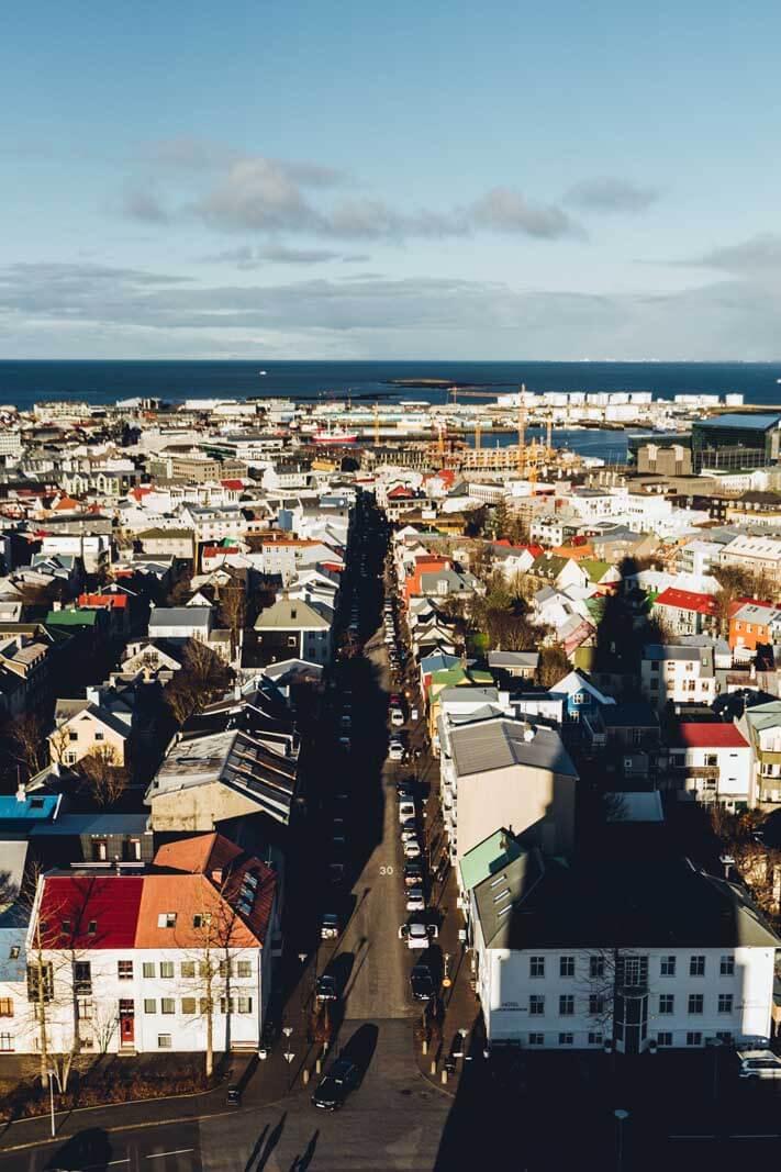 View from Hallgrímskirkja towards downtown Reykjavik
