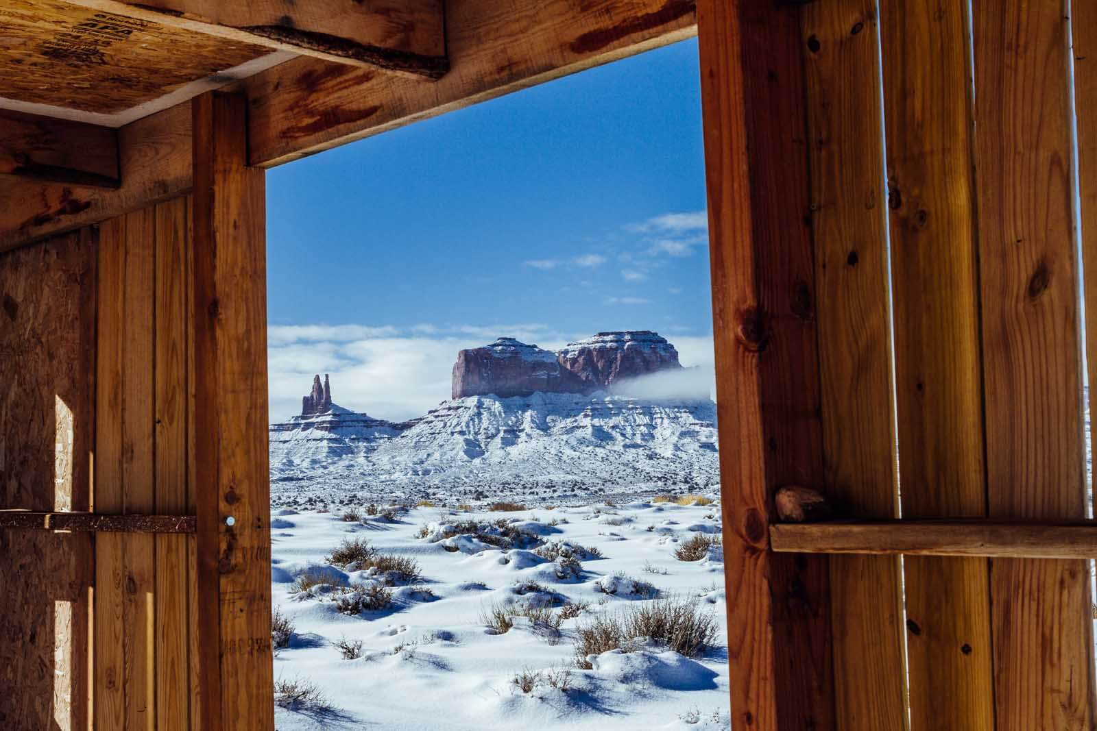View of Monument Valley from a little window in a building