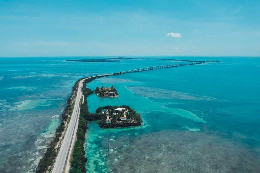 View of the 7 mile bridge in the Florida Keys