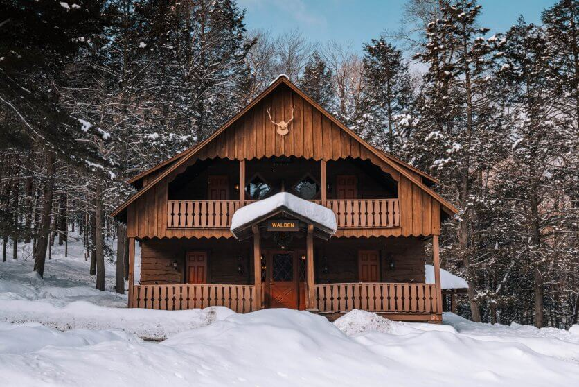 Walden Lodge at Urban Cowboy Catskills in winter in New York