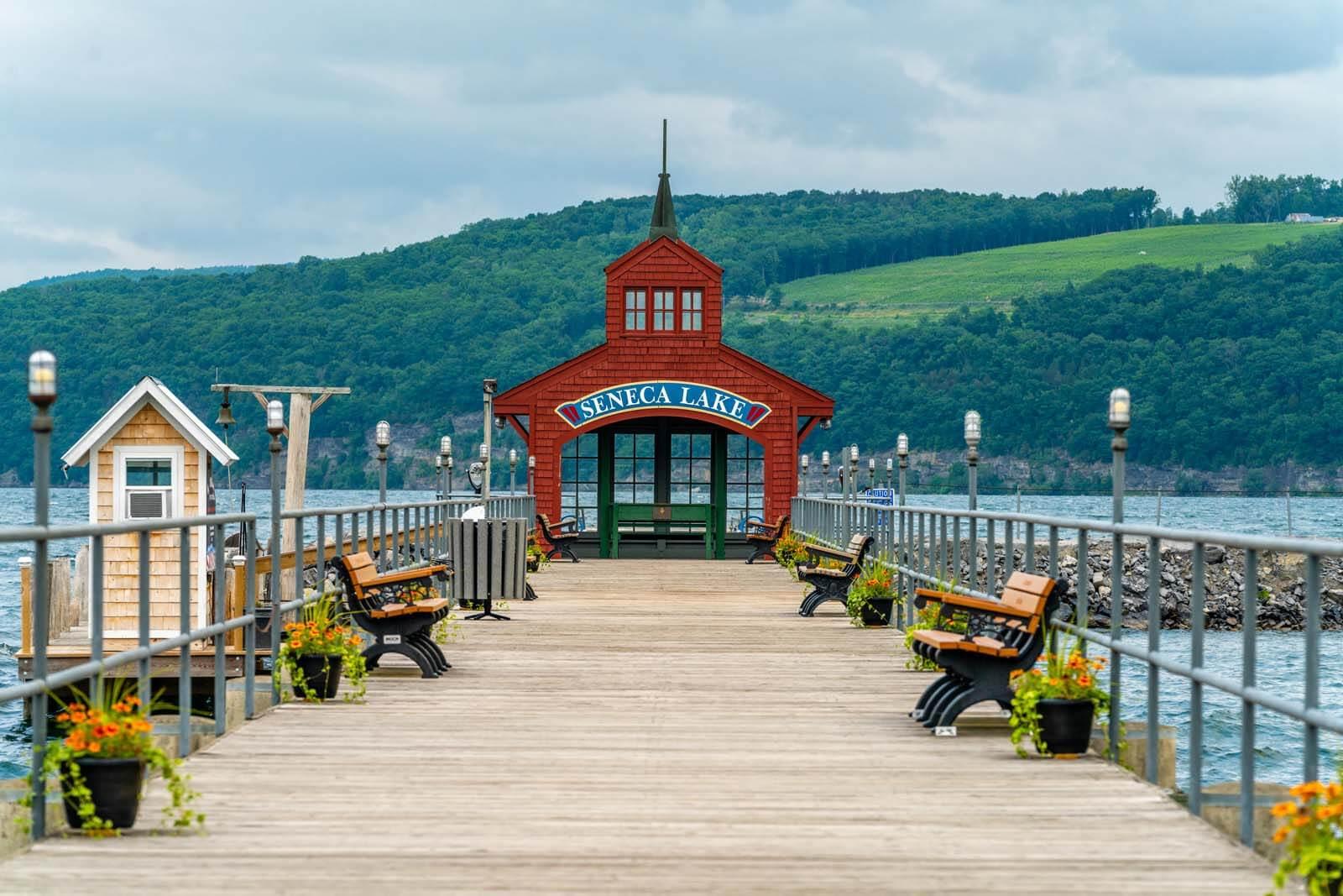Seneca Lake Harbor in Watkins Glen New York in the Finger Lakes region