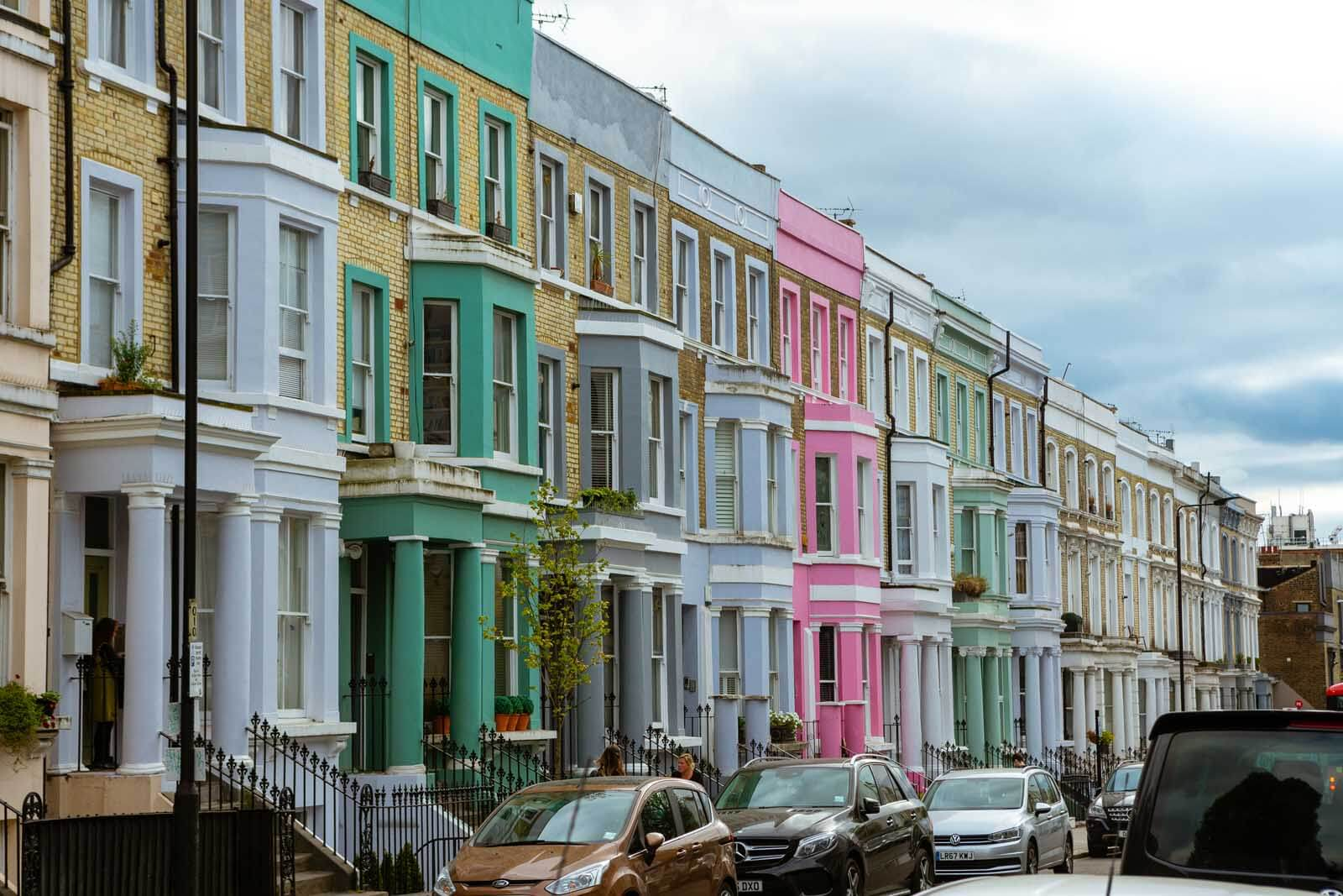 colorful row of homes on Westbourne Park Road in Notting Hill