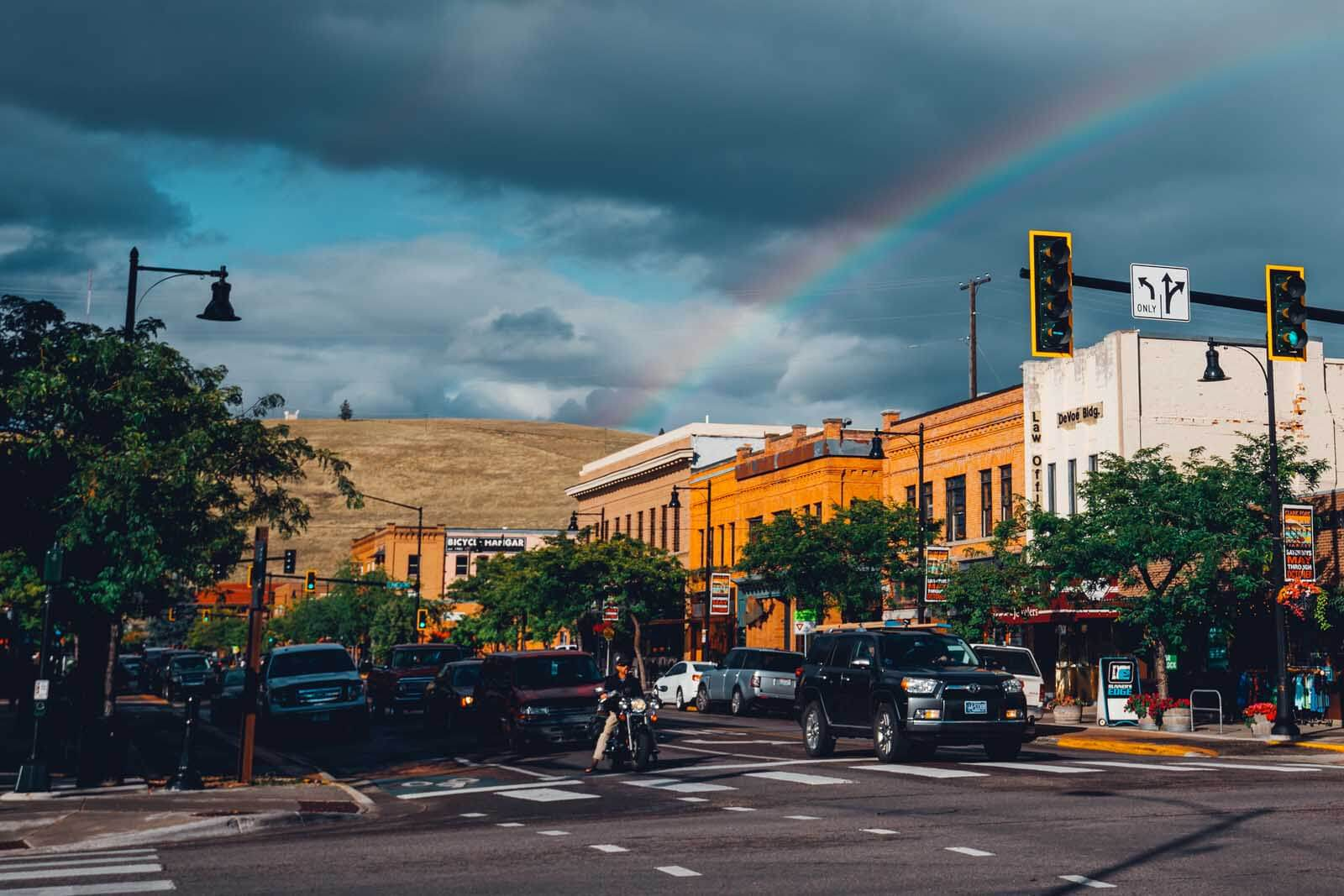 a rainbow in downtown missoula montana