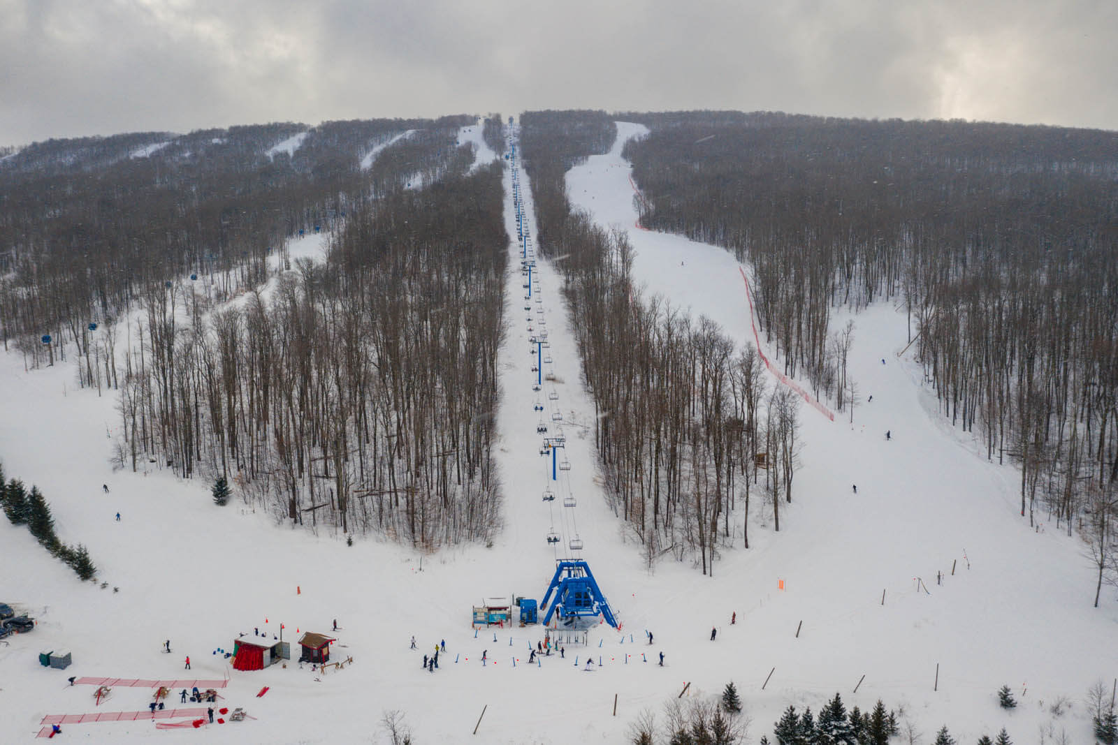 aerial view of Bellayre Ski Resort near Phoenicia New York in the Catskills
