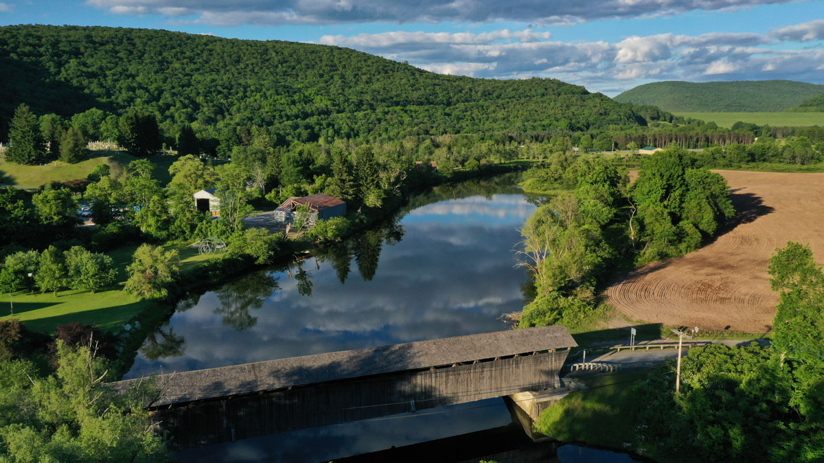 aerial-view-of-Downsville-covered-bridge-in-delaware-county-in-the-catskills-region-of-new-york