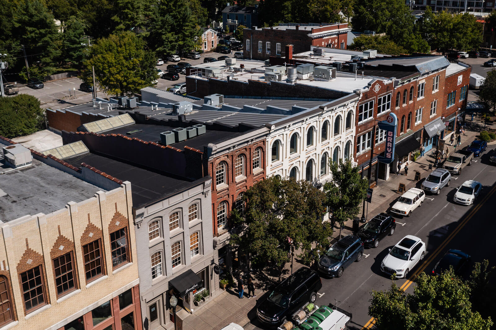 aerial view of downtown franklin tennessee