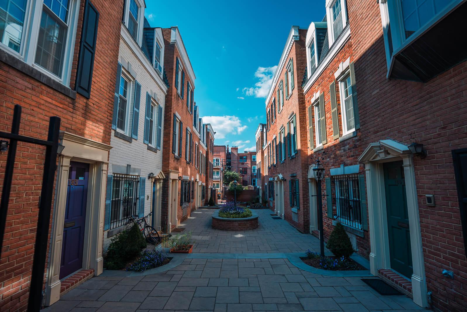 beautiful alley of homes in Adams Morgan neighborhood of Washington DC