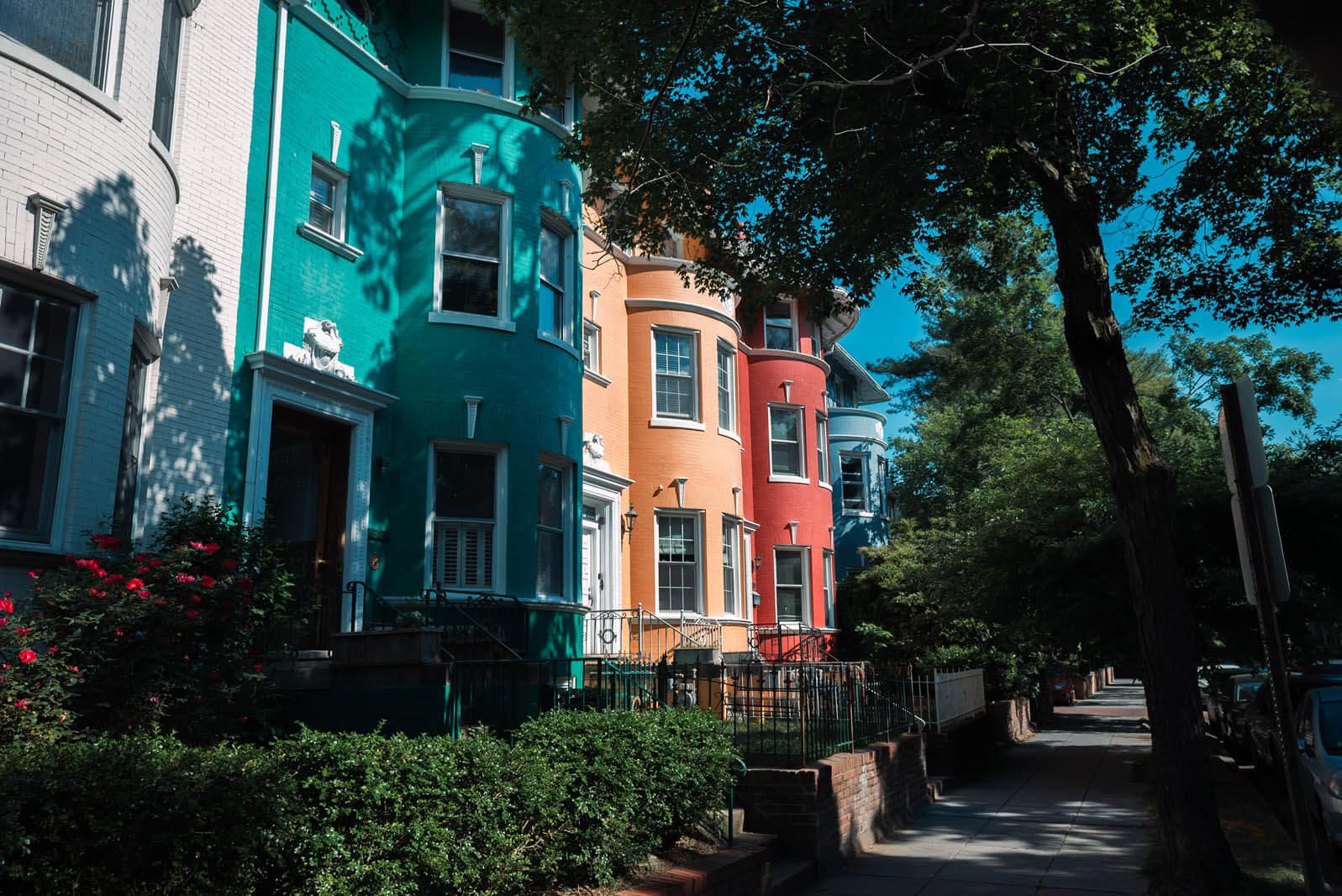 beautiful colorful homes of Adams Morgan neighborhood in Washington DC