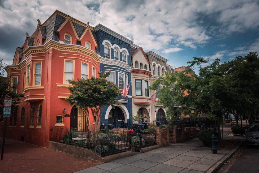 beautiful colorful homes of H Street Corridor in Washington DC