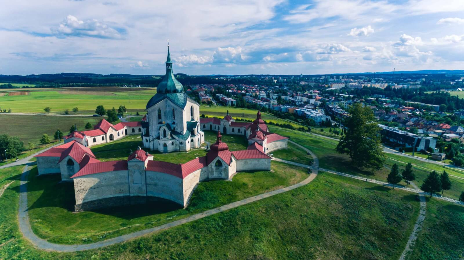 birds eye view of Pilgrimage Church of St. John of Nepomuk at Zelená Hora Vysocina UNESCO site in Czech Republic