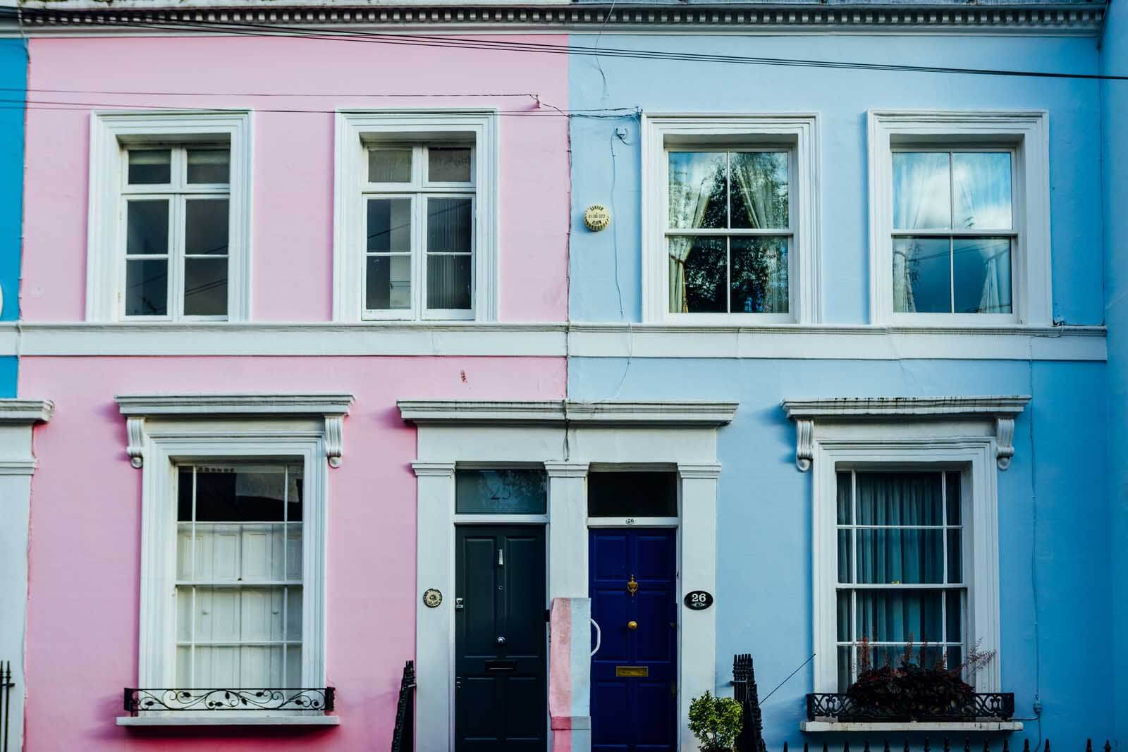 colorful houses on Denbigh Terrace in Notting Hill in London