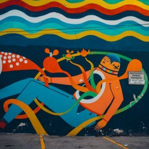 colorful mural around Winnipeg Canada