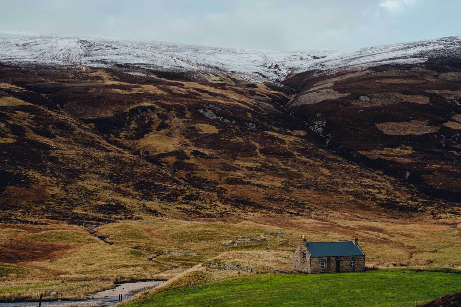 cute mountain house in Cairngorms National Park Scotland