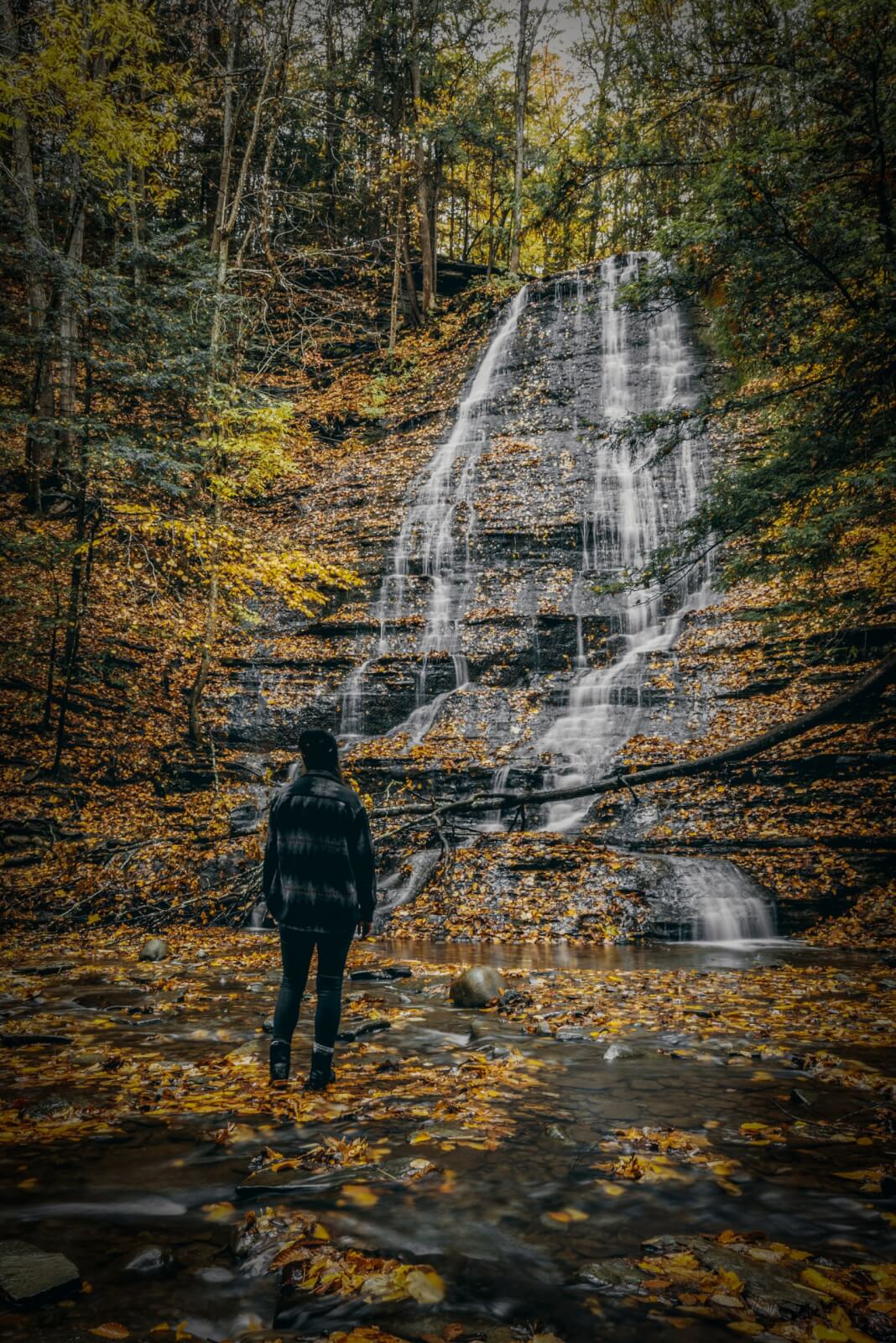 first waterfall at grimes glen in naples new york in the fall